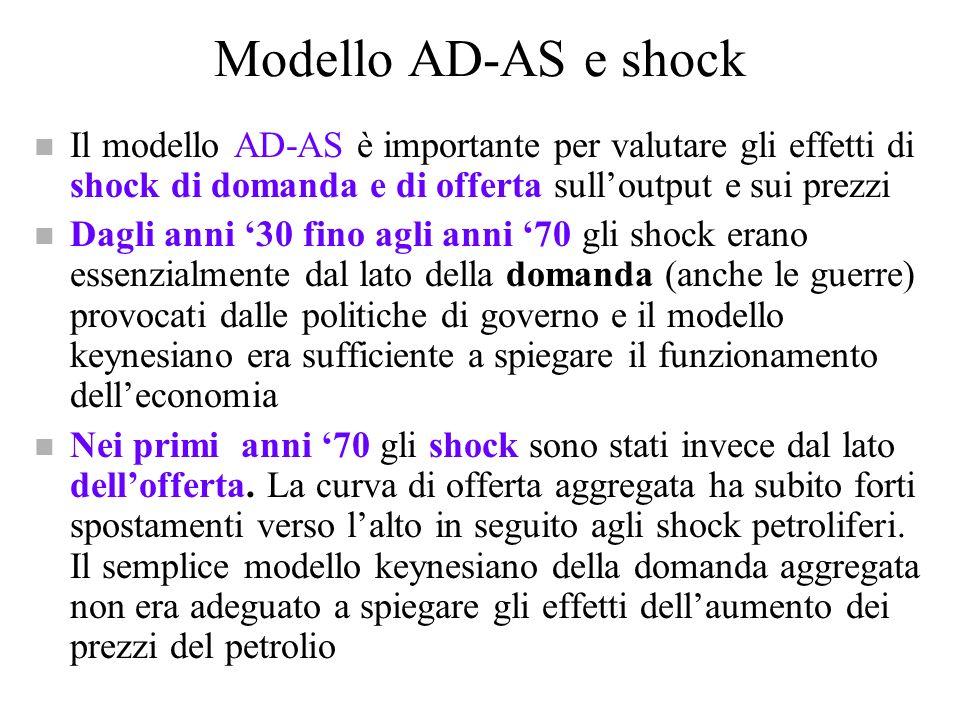 Modello AD-AS e politica economica n Si può usare il modello AD-AS per valutare gli effetti delle politiche economiche sul reddito e sui prezzi n Un a