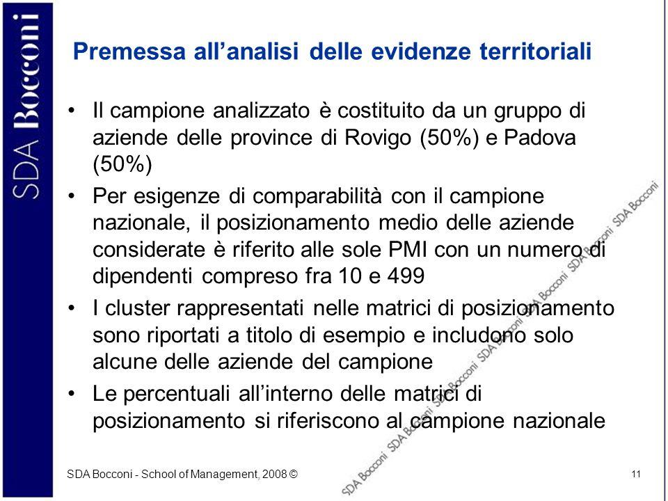SDA Bocconi - School of Management, 2008 © 11 Premessa allanalisi delle evidenze territoriali Il campione analizzato è costituito da un gruppo di azie