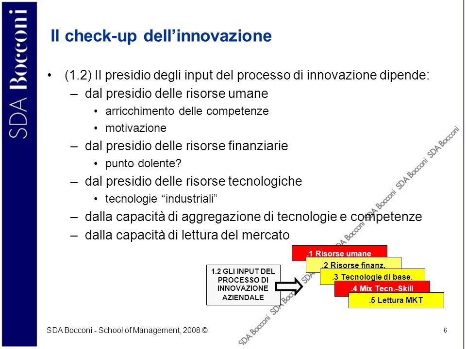 SDA Bocconi - School of Management, 2008 © 6 Il check-up dellinnovazione (1.2) Il presidio degli input del processo di innovazione dipende: –dal presi