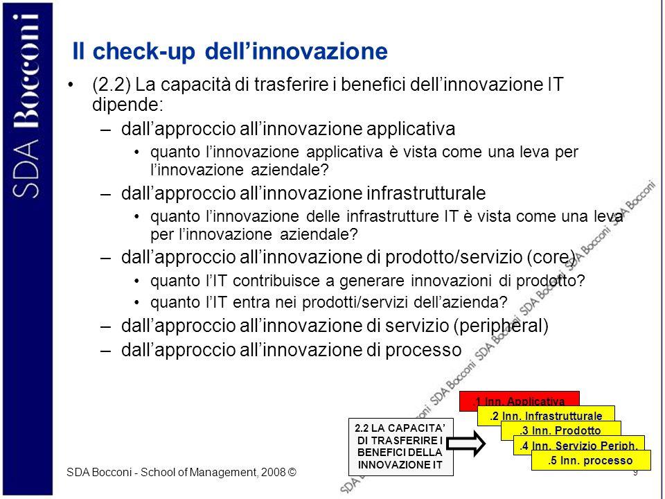 SDA Bocconi - School of Management, 2008 © 9 Il check-up dellinnovazione (2.2) La capacità di trasferire i benefici dellinnovazione IT dipende: –dalla