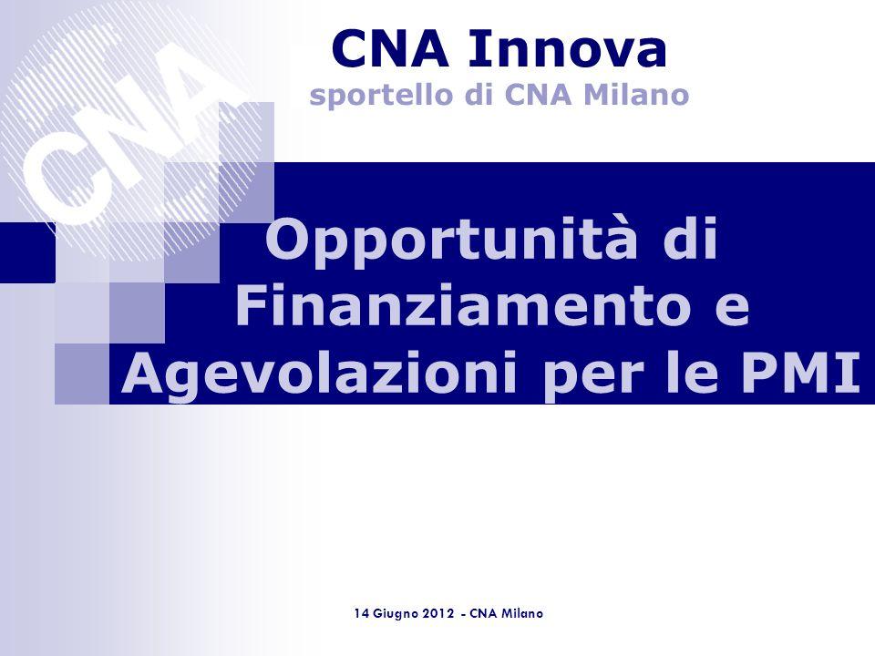 Lombardia 14 Giugno 2012 - CNA Milano Opportunità di Finanziamento e Agevolazioni per le PMI CNA Innova sportello di CNA Milano