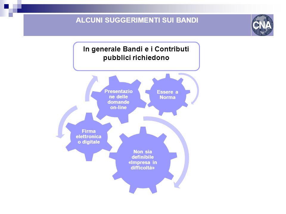 Come finanziare le reti Lombardia ALCUNI SUGGERIMENTI SUI BANDI In generale Bandi e i Contributi pubblici richiedono Non sia definibile «Impresa in di
