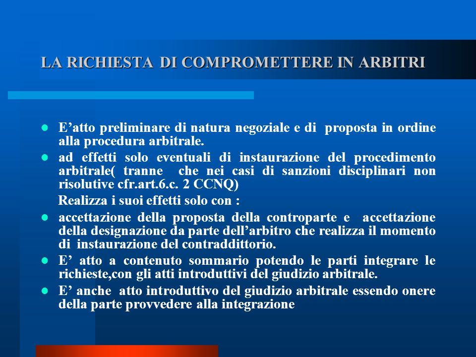LA RICHIESTA DI COMPROMETTERE IN ARBITRI Eatto preliminare di natura negoziale e di proposta in ordine alla procedura arbitrale.