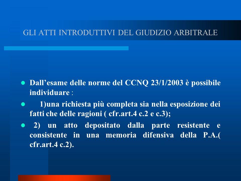 GLI ATTI INTRODUTTIVI DEL GIUDIZIO ARBITRALE Dallesame delle norme del CCNQ 23/1/2003 è possibile individuare : 1)una richiesta più completa sia nella esposizione dei fatti che delle ragioni ( cfr.art.4 c.2 e c.3); 2) un atto depositato dalla parte resistente e consistente in una memoria difensiva della P.A.( cfr.art.4 c.2).