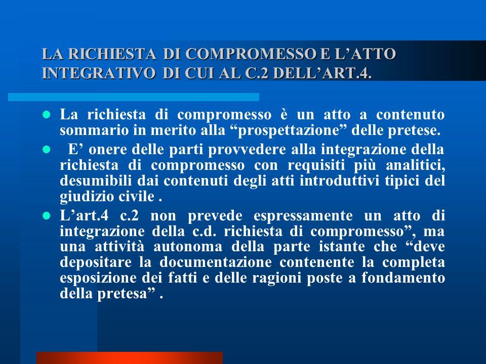 LA RICHIESTA DI COMPROMESSO E LATTO INTEGRATIVO DI CUI AL C.2 DELLART.4.