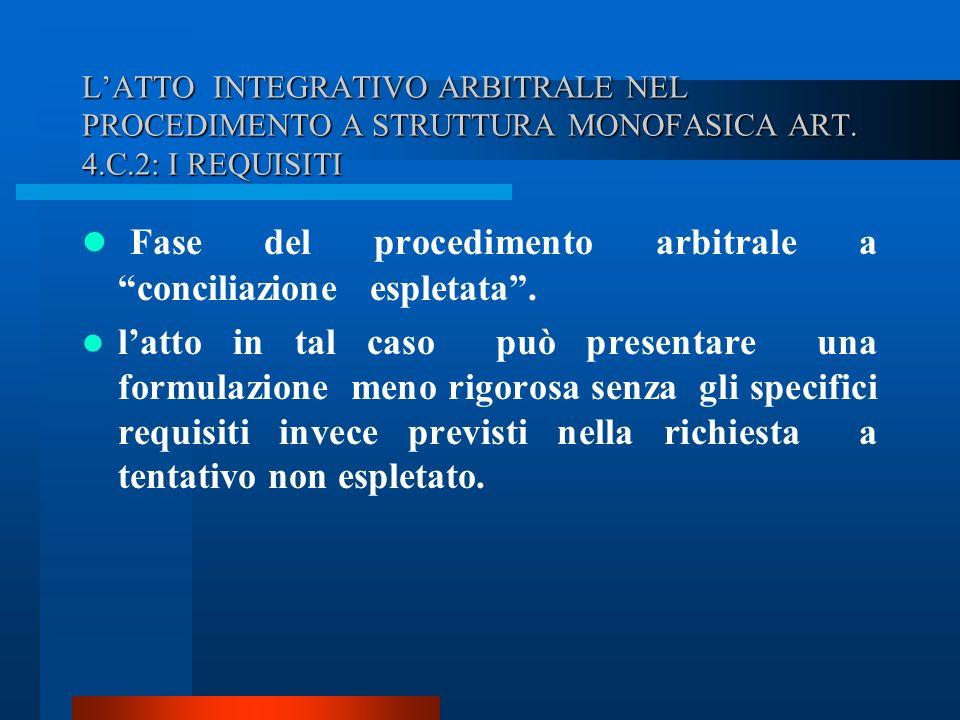 LATTO INTEGRATIVO ARBITRALE NEL PROCEDIMENTO A STRUTTURA MONOFASICA ART.