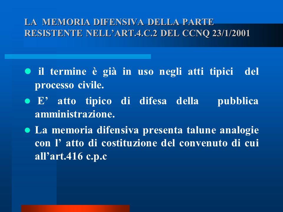 LA MEMORIA DIFENSIVA DELLA PARTE RESISTENTE NELLART.4.C.2 DEL CCNQ 23/1/2001 il termine è già in uso negli atti tipici del processo civile.