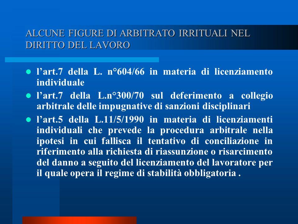 ALCUNE FIGURE DI ARBITRATO IRRITUALI NEL DIRITTO DEL LAVORO lart.7 della L.