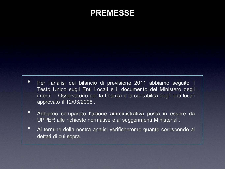 PREMESSE Per lanalisi del bilancio di previsione 2011 abbiamo seguito il Testo Unico sugli Enti Locali e il documento del Ministero degli interni – Os