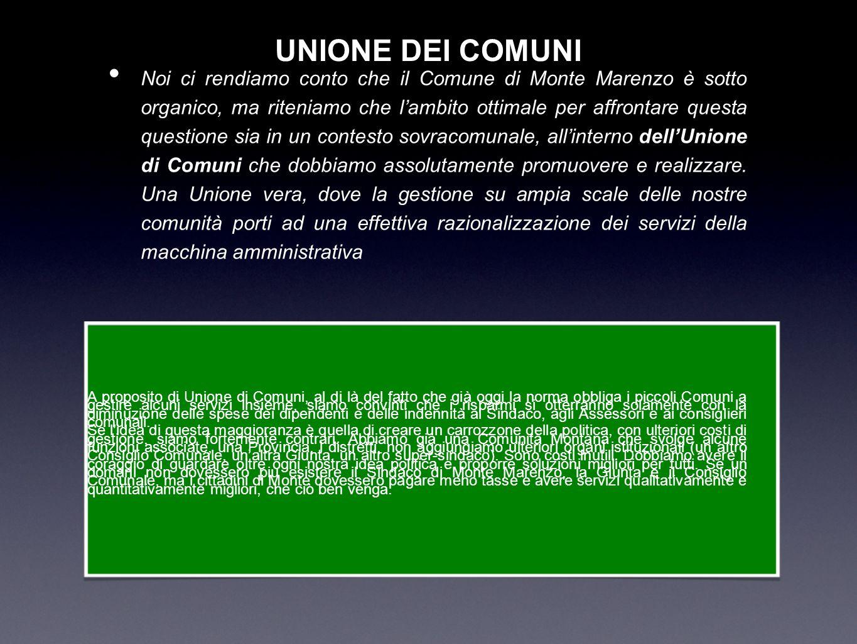 UNIONE DEI COMUNI Noi ci rendiamo conto che il Comune di Monte Marenzo è sotto organico, ma riteniamo che lambito ottimale per affrontare questa quest