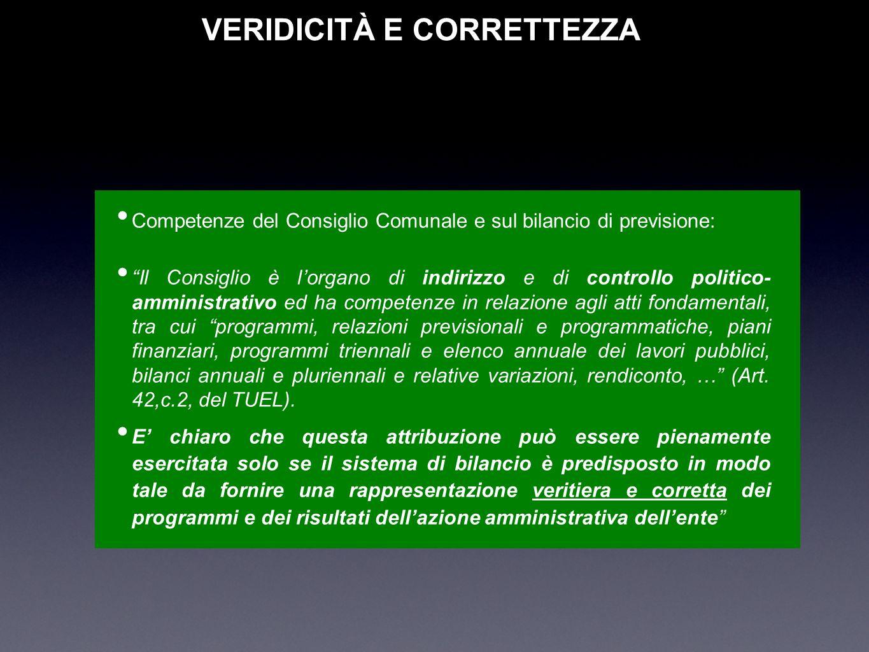 VERIDICITÀ E CORRETTEZZA Competenze del Consiglio Comunale e sul bilancio di previsione: Il Consiglio è lorgano di indirizzo e di controllo politico-