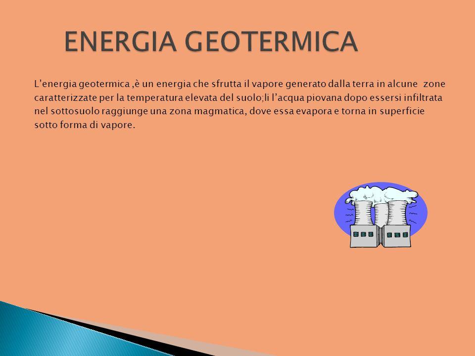 Lenergia geotermica,è un energia che sfrutta il vapore generato dalla terra in alcune zone caratterizzate per la temperatura elevata del suolo;li lacq