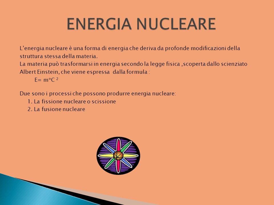 Lenergia nucleare è una forma di energia che deriva da profonde modificazioni della struttura stessa della materia. La materia può trasformarsi in ene