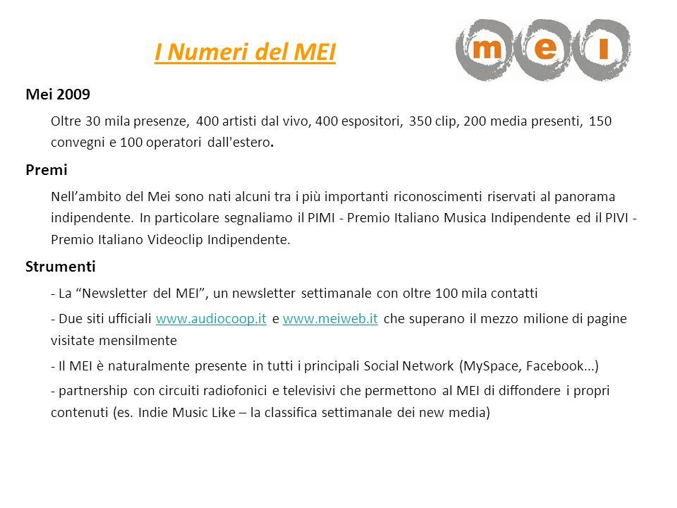 I Numeri del MEI Mei 2009 Oltre 30 mila presenze, 400 artisti dal vivo, 400 espositori, 350 clip, 200 media presenti, 150 convegni e 100 operatori dal