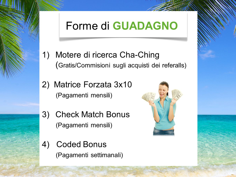 Forme di GUADAGNO 1)Motere di ricerca Cha-Ching ( Gratis/Commisioni sugli acquisti dei referalls) 2) Matrice Forzata 3x10 (Pagamenti mensili) 3)Check Match Bonus (Pagamenti mensili) 4) Coded Bonus (Pagamenti settimanali)