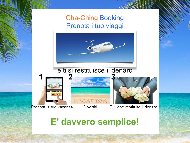 Cha-Ching Booking Prenota i tuo viaggi e ti si restituisce il denaro Prenota la tua vacanzaDivertitiTi viene restituito il denaro E davvero semplice.
