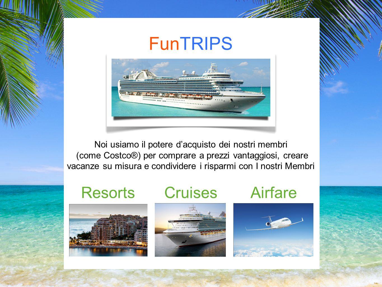 FunTRIPS Noi usiamo il potere dacquisto dei nostri membri (come Costco®) per comprare a prezzi vantaggiosi, creare vacanze su misura e condividere i risparmi con I nostri Membri ResortsCruisesAirfare