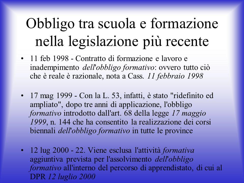 Obbligo tra scuola e formazione nella legislazione più recente 11 feb 1998 - Contratto di formazione e lavoro e inadempimento dell'obbligo formativo: