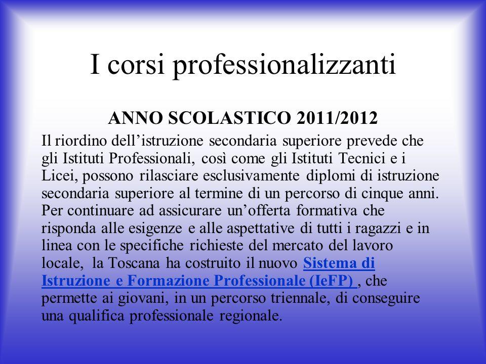 I corsi professionalizzanti ANNO SCOLASTICO 2011/2012 Il riordino dellistruzione secondaria superiore prevede che gli Istituti Professionali, così com
