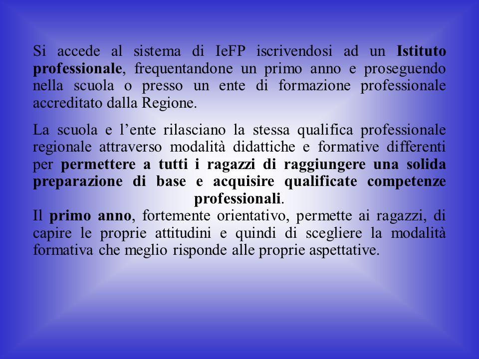 Si accede al sistema di IeFP iscrivendosi ad un Istituto professionale, frequentandone un primo anno e proseguendo nella scuola o presso un ente di fo