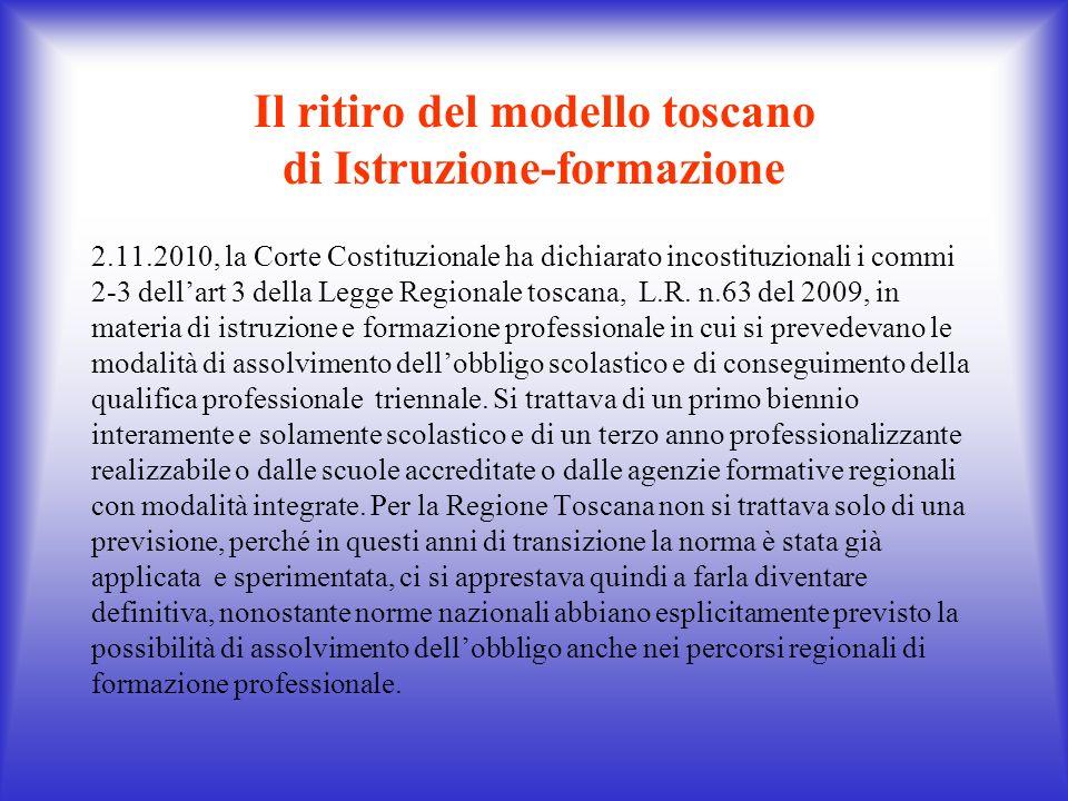 Il ritiro del modello toscano di Istruzione-formazione 2.11.2010, la Corte Costituzionale ha dichiarato incostituzionali i commi 2-3 dellart 3 della L