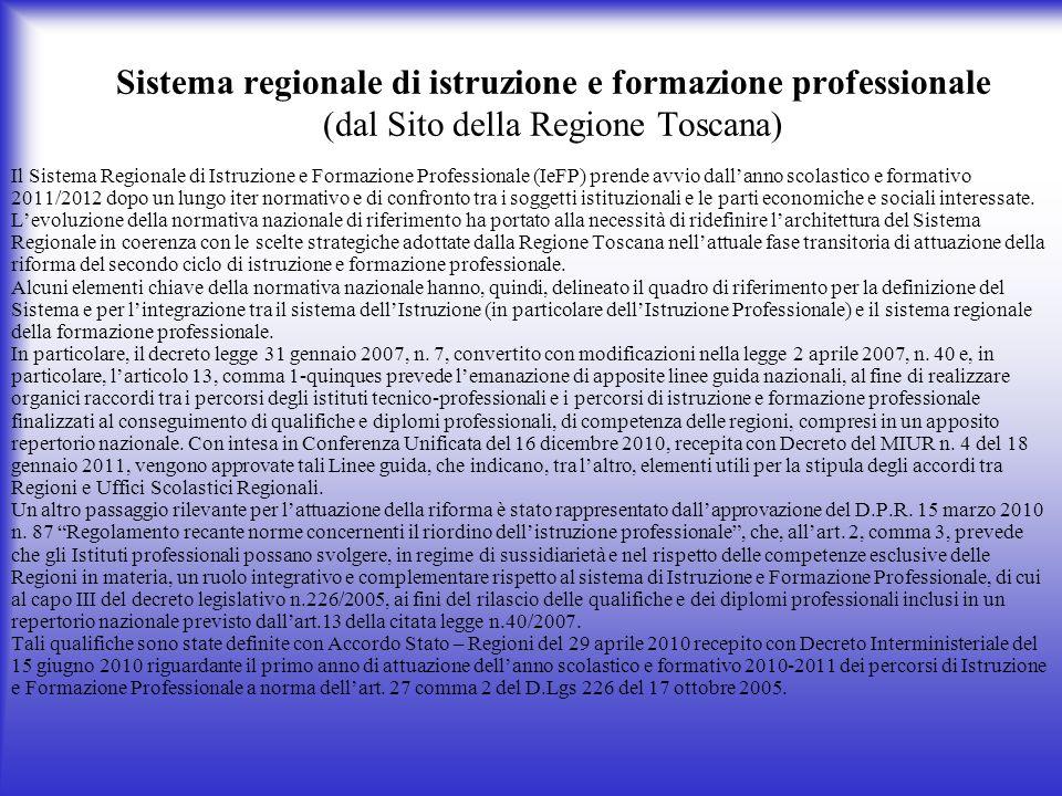 Sistema regionale di istruzione e formazione professionale (dal Sito della Regione Toscana) Il Sistema Regionale di Istruzione e Formazione Profession