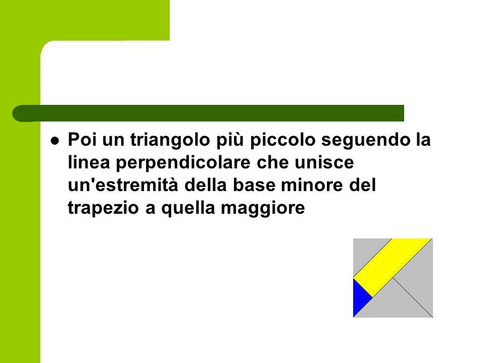 Poi un triangolo più piccolo seguendo la linea perpendicolare che unisce un'estremità della base minore del trapezio a quella maggiore