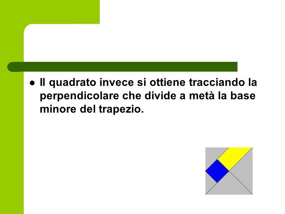 Il quadrato invece si ottiene tracciando la perpendicolare che divide a metà la base minore del trapezio.