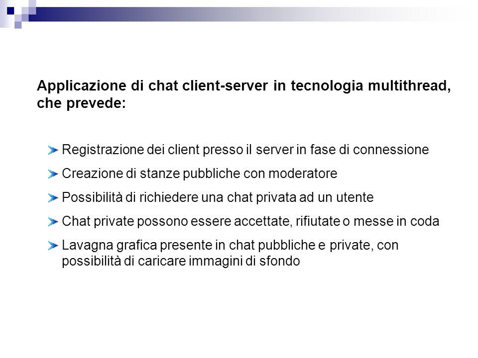 Registrazione dei client presso il server in fase di connessione Creazione di stanze pubbliche con moderatore Possibilità di richiedere una chat priva