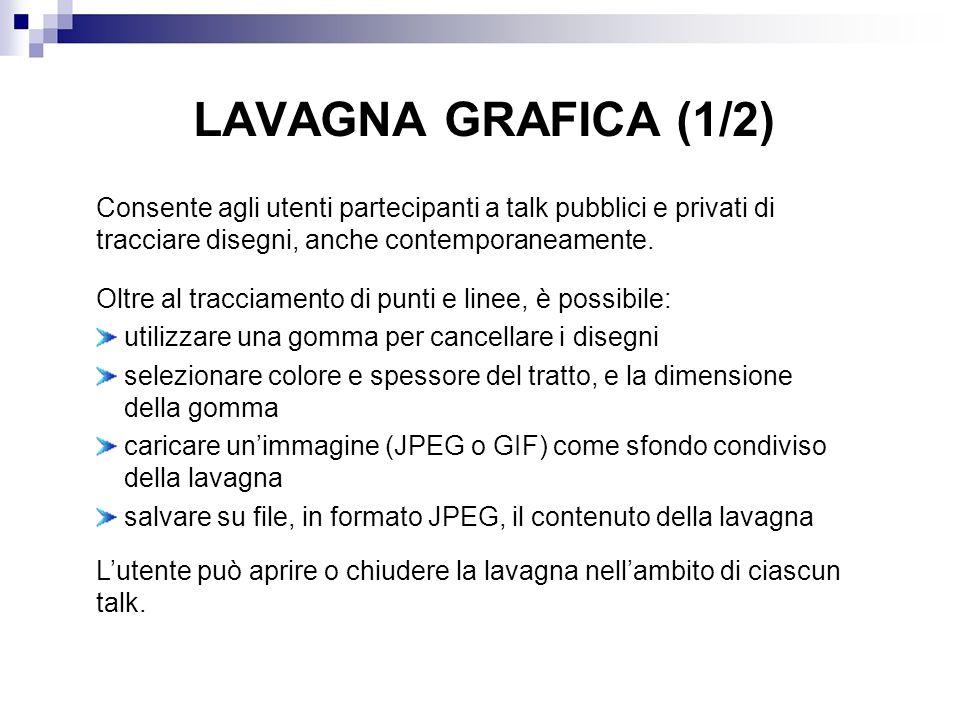 LAVAGNA GRAFICA (1/2) Consente agli utenti partecipanti a talk pubblici e privati di tracciare disegni, anche contemporaneamente. Oltre al tracciament