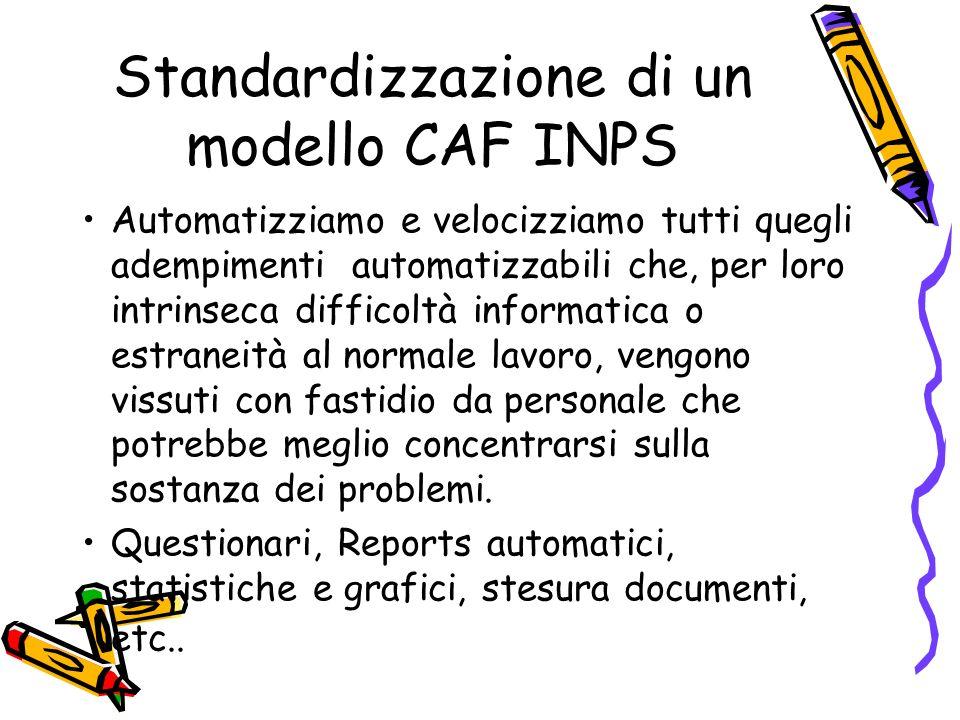 Standardizzazione di un modello CAF INPS Automatizziamo e velocizziamo tutti quegli adempimenti automatizzabili che, per loro intrinseca difficoltà in