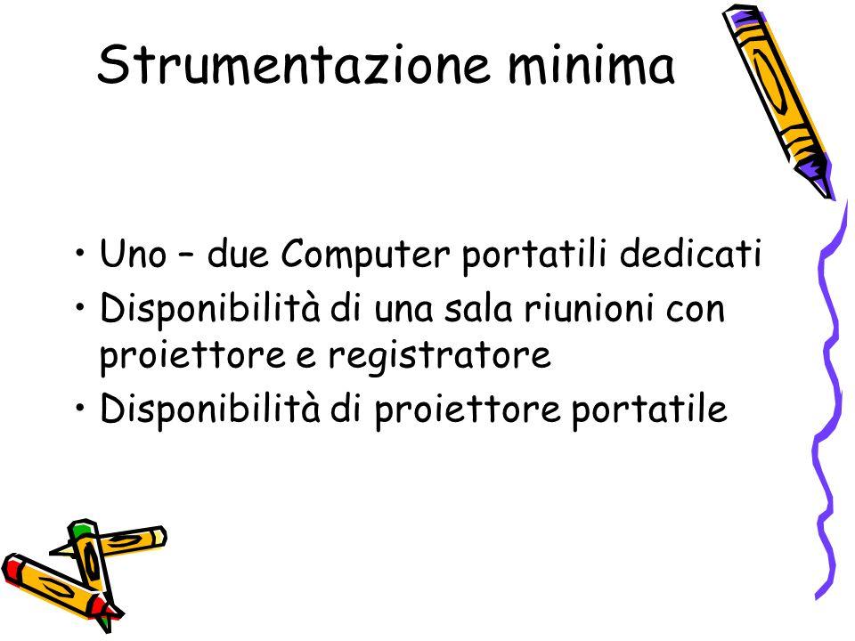 Strumentazione minima Uno – due Computer portatili dedicati Disponibilità di una sala riunioni con proiettore e registratore Disponibilità di proiettore portatile