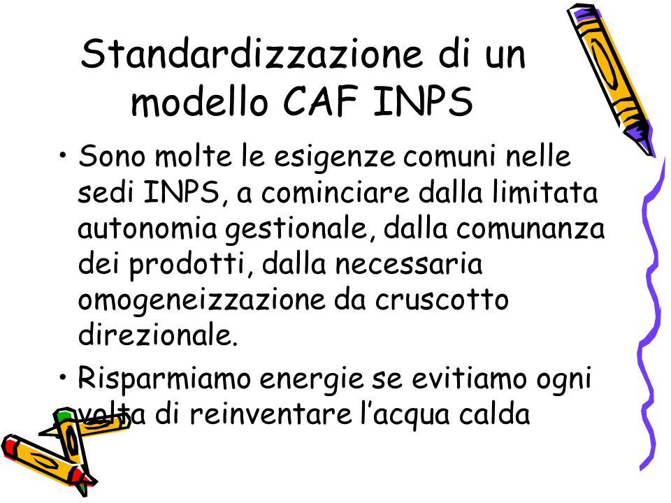 Standardizzazione di un modello CAF INPS Sono molte le esigenze comuni nelle sedi INPS, a cominciare dalla limitata autonomia gestionale, dalla comunanza dei prodotti, dalla necessaria omogeneizzazione da cruscotto direzionale.