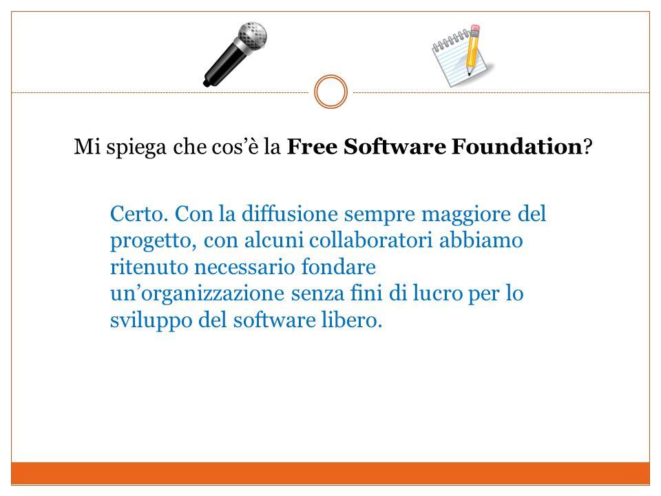 Mi spiega che cosè la Free Software Foundation? Certo. Con la diffusione sempre maggiore del progetto, con alcuni collaboratori abbiamo ritenuto neces
