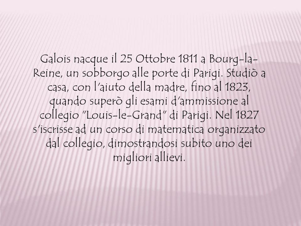 Galois nacque il 25 Ottobre 1811 a Bourg-la- Reine, un sobborgo alle porte di Parigi. Studiò a casa, con l'aiuto della madre, fino al 1823, quando sup