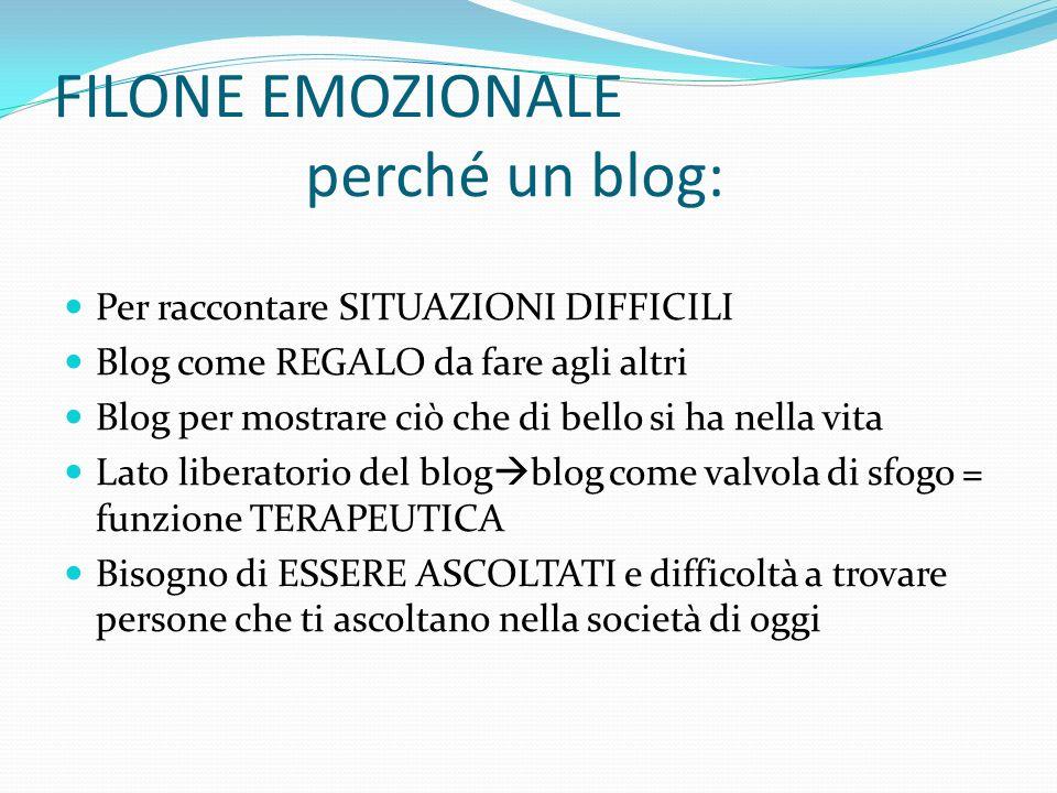 FILONE EMOZIONALE perché un blog: Per raccontare SITUAZIONI DIFFICILI Blog come REGALO da fare agli altri Blog per mostrare ciò che di bello si ha nel