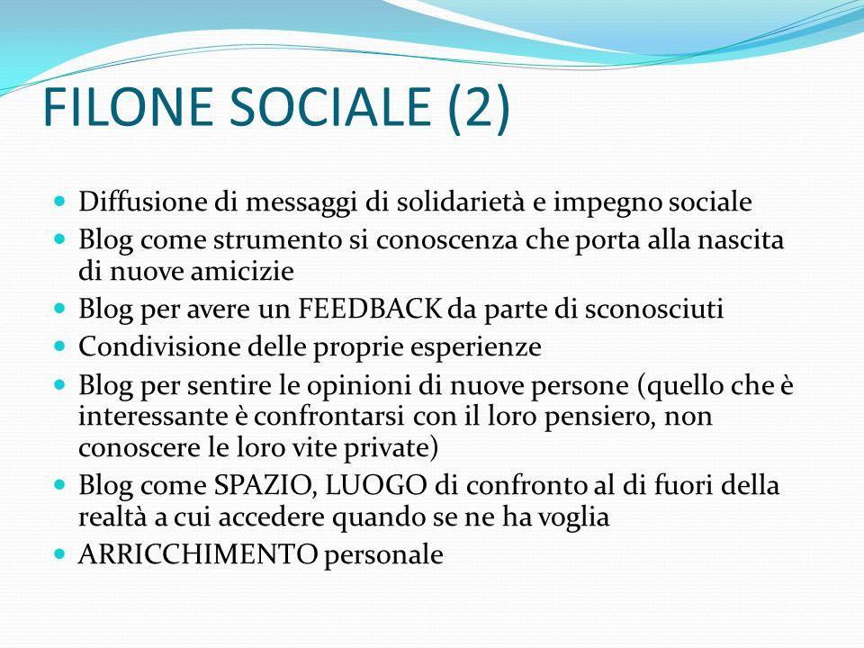 FILONE SOCIALE (2) Diffusione di messaggi di solidarietà e impegno sociale Blog come strumento si conoscenza che porta alla nascita di nuove amicizie