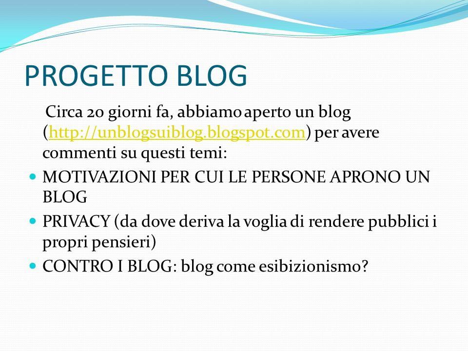 PROGETTO BLOG Circa 20 giorni fa, abbiamo aperto un blog (http://unblogsuiblog.blogspot.com) per avere commenti su questi temi:http://unblogsuiblog.bl