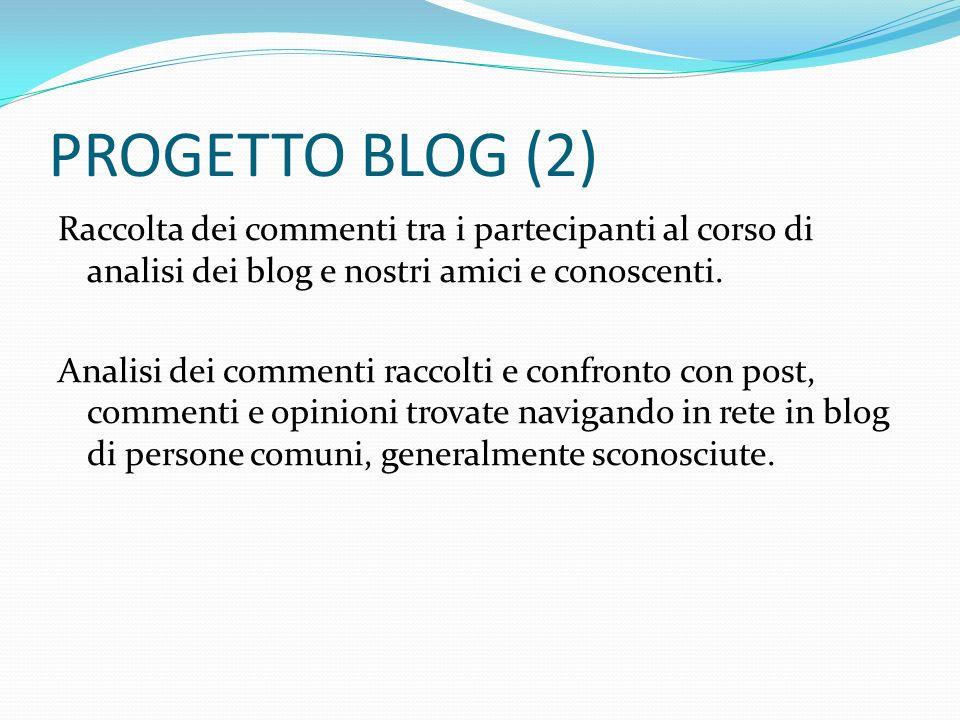 PROGETTO BLOG (2) Raccolta dei commenti tra i partecipanti al corso di analisi dei blog e nostri amici e conoscenti. Analisi dei commenti raccolti e c