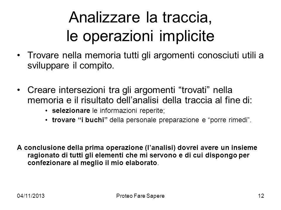 04/11/2013Proteo Fare Sapere Analizzare la traccia, le operazioni implicite Trovare nella memoria tutti gli argomenti conosciuti utili a sviluppare il