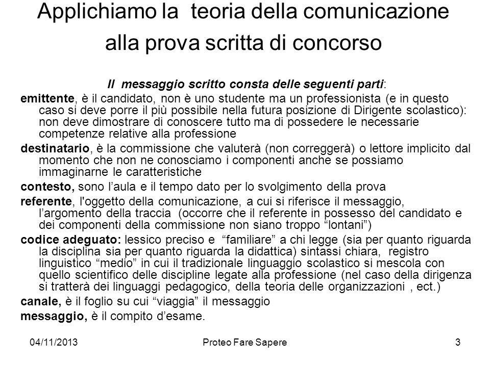 04/11/2013Proteo Fare Sapere Applichiamo la teoria della comunicazione alla prova scritta di concorso Il messaggio scritto consta delle seguenti parti