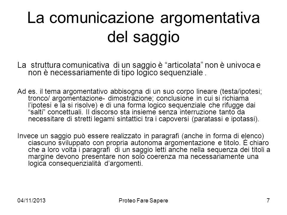 04/11/2013Proteo Fare Sapere La comunicazione argomentativa del saggio La struttura comunicativa di un saggio è articolata non è univoca e non è neces