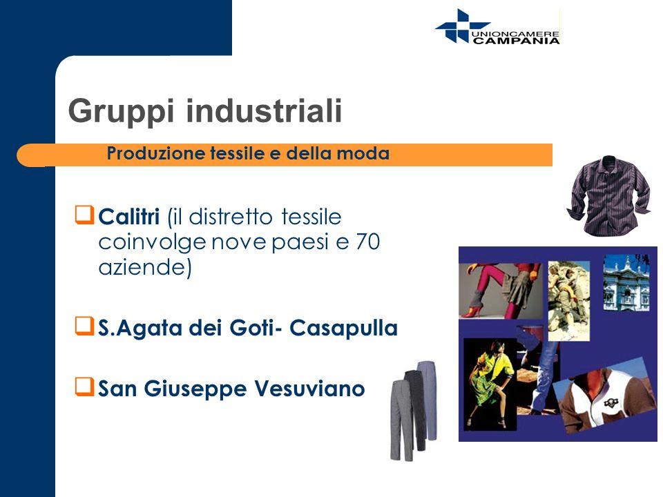 Calitri (il distretto tessile coinvolge nove paesi e 70 aziende) S.Agata dei Goti- Casapulla San Giuseppe Vesuviano Gruppi industriali Produzione tess