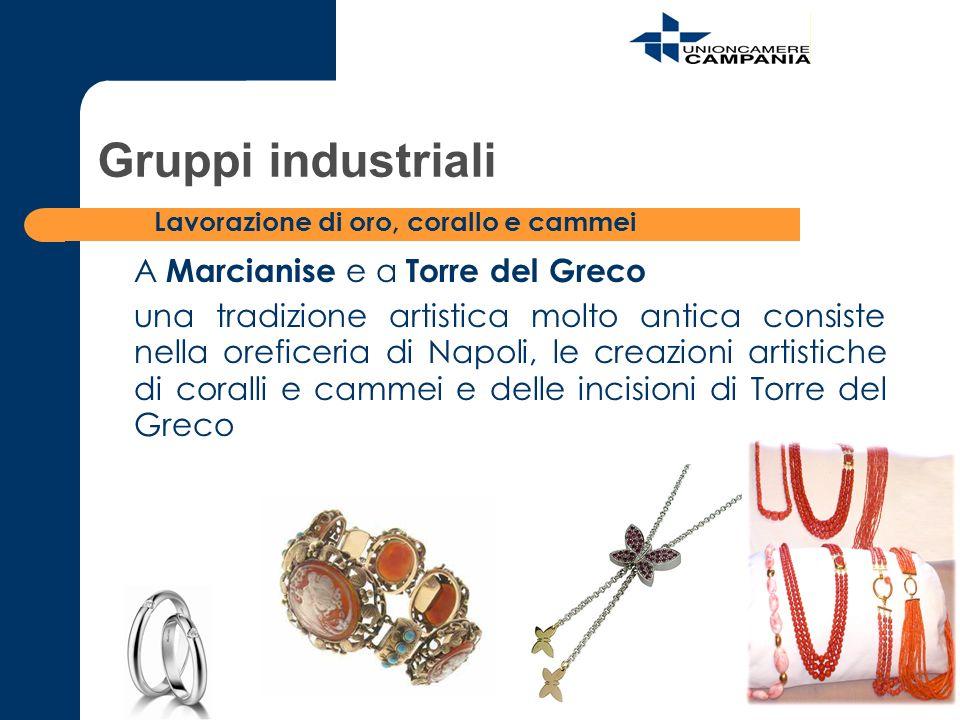 A Marcianise e a Torre del Greco una tradizione artistica molto antica consiste nella oreficeria di Napoli, le creazioni artistiche di coralli e camme