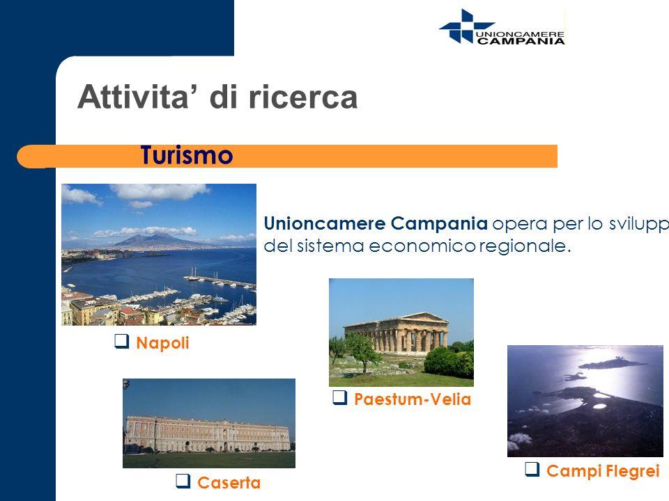 Attivita di ricerca Turismo Caserta Paestum-Velia Campi Flegrei Napoli Unioncamere Campania opera per lo sviluppo del sistema economico regionale.