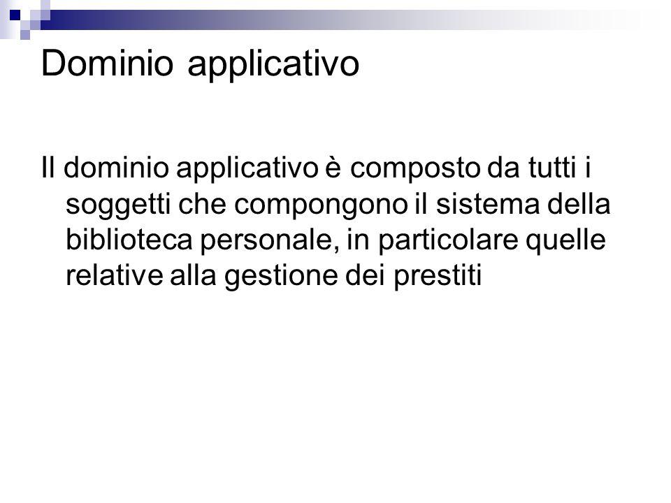 Dominio applicativo Il dominio applicativo è composto da tutti i soggetti che compongono il sistema della biblioteca personale, in particolare quelle