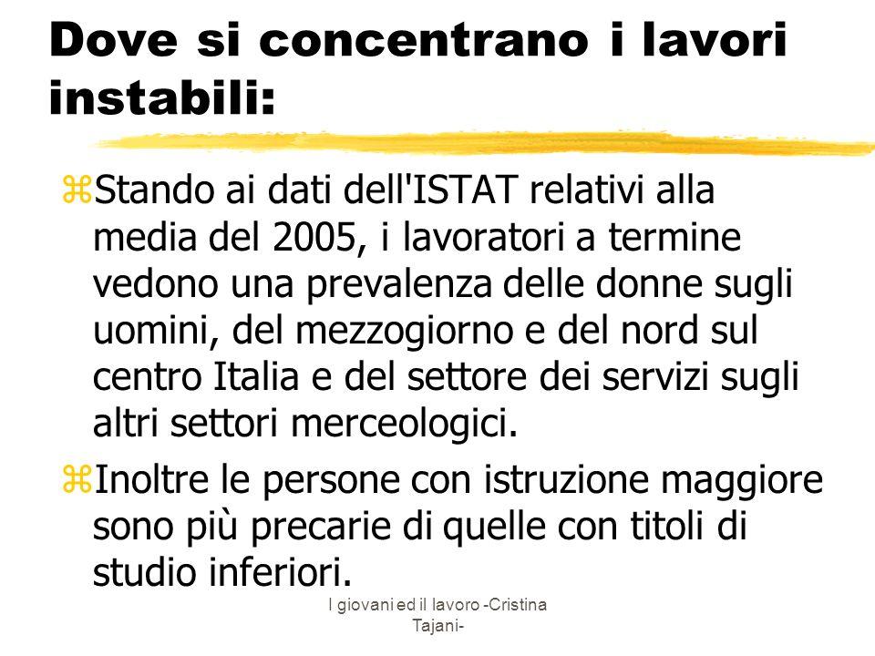 I giovani ed il lavoro -Cristina Tajani- Dove si concentrano i lavori instabili: zStando ai dati dell'ISTAT relativi alla media del 2005, i lavoratori