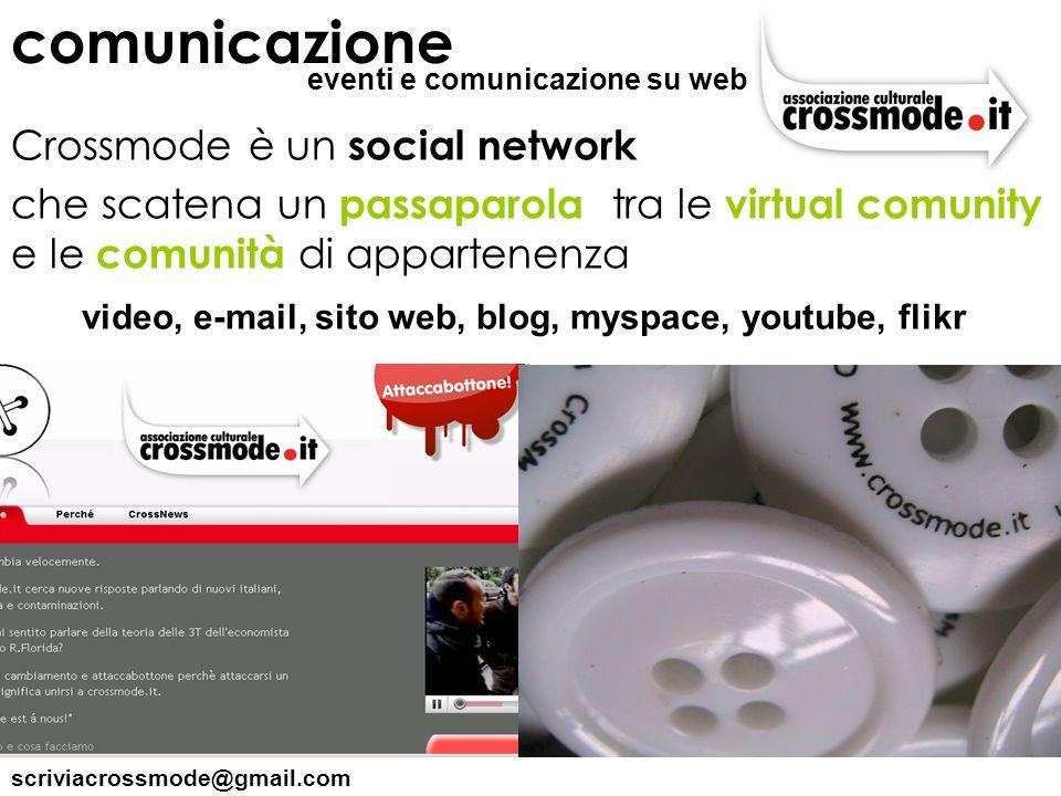 scriviacrossmode@gmail.com Crossmode è un social network che scatena un passaparola tra le virtual comunity e le comunità di appartenenza comunicazion