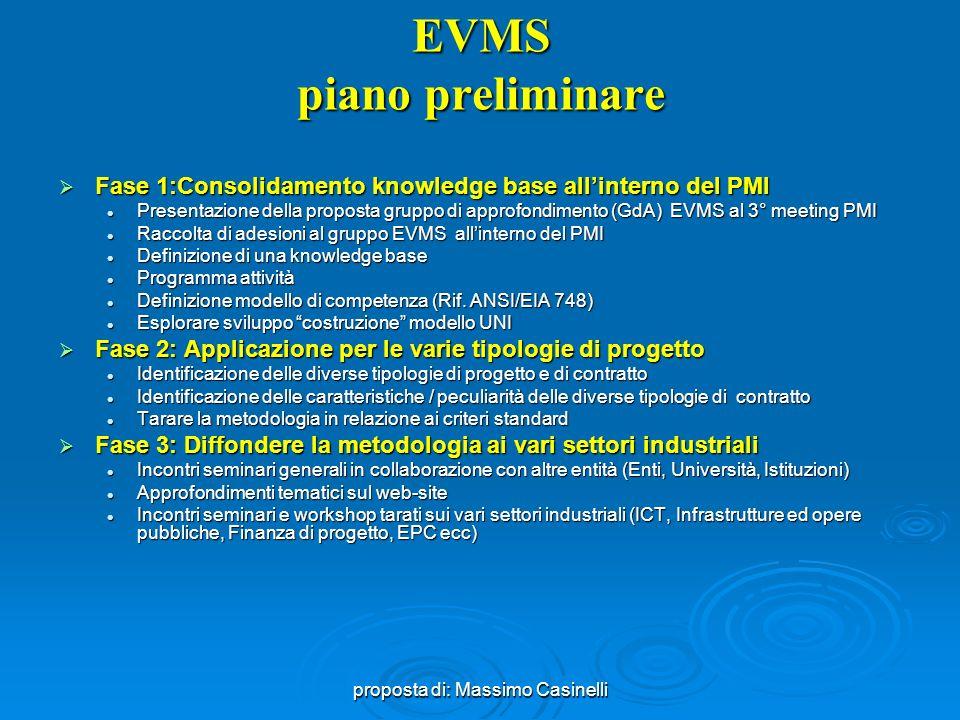 proposta di: Massimo Casinelli Valenza EVMS Definizioni EVMS (Earned Value Management System) è un modello integrato del processo di pianificazione, programmazione e controllo del progetto, costituito da un set di guidelines (criteria) (32) che razionalizzano i diversi sotto processi: EVMS (Earned Value Management System) è un modello integrato del processo di pianificazione, programmazione e controllo del progetto, costituito da un set di guidelines (criteria) (32) che razionalizzano i diversi sotto processi: (NDIA ANSI EIA 748 Intent Guide*) Organizzazione (5) Organizzazione (5) Planning, scheduling and budgeting (10) Planning, scheduling and budgeting (10) Accounting (6) Accounting (6) Analisi performance e reporting direzionale (6) Analisi performance e reporting direzionale (6) Revisioni (changes) e gestione dati (5) Revisioni (changes) e gestione dati (5) Le guidelines del EVMS devono applicate alla singola azienda che deve adeguare il proprio processo di pianificazione Le guidelines del EVMS devono applicate alla singola azienda che deve adeguare il proprio processo di pianificazione EVMS può essere adattato anche su progetti di piccola e media dimensione (sono stati proposti a tal fine 10 criteri base) EVMS può essere adattato anche su progetti di piccola e media dimensione (sono stati proposti a tal fine 10 criteri base) La valenza delle EVMS è particolarmente apprezzabile in ambito di program management La valenza delle EVMS è particolarmente apprezzabile in ambito di program management *National Defense Industrial Association s, Program Management Systems Committee
