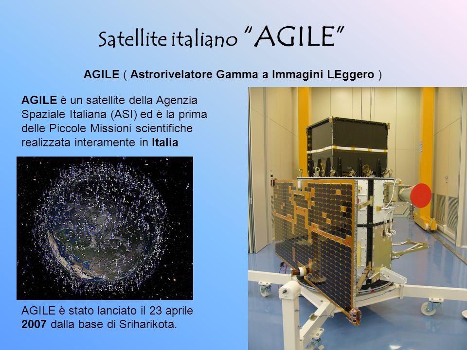 Satellite italiano AGILE AGILE è stato lanciato il 23 aprile 2007 dalla base di Sriharikota. AGILE ( Astrorivelatore Gamma a Immagini LEggero ) AGILE